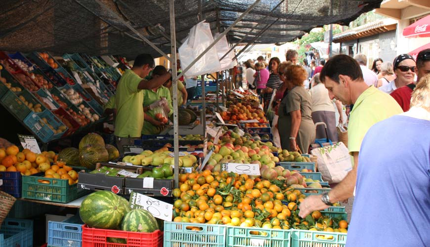 A view of one of the fruit stalls in the Andratx market
