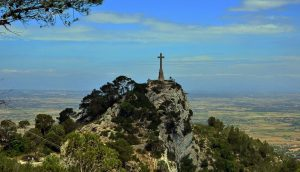 The stone cross at El puig de Sant Salvador in Mallorca