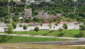 A view over the playground looking like a castle