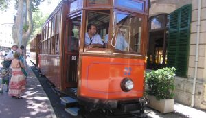 A view of the beautiful old wooden train going from Palma to Sóller